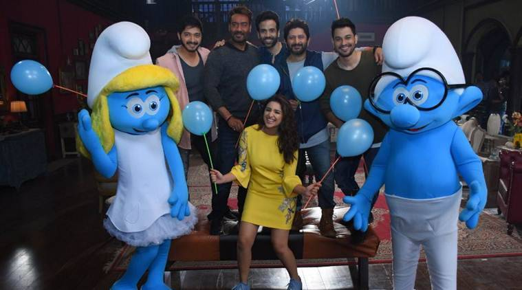 golmaal again, golmaal 4, the smurfs, smurfs the lost village, ajay devgn, ajay devgan, ranveer singh, rohit shetty, parineeti chopra, tabu, arshad warsi, parineeti chopra picture, ajay devgn picture, indian express news, entertainment news