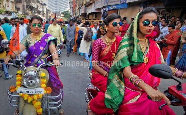 Va va vroom: Women in nauvari saris take out bike rally on Gudi Padwa