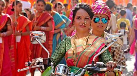 Va va vroom: Women in nauvari saris take out bike rally on Gudi Padwa