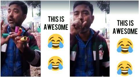 hawker, baby voice, call your papa, toy, funny toy, hawker making baby voice, funny videos, indian express, indian express news