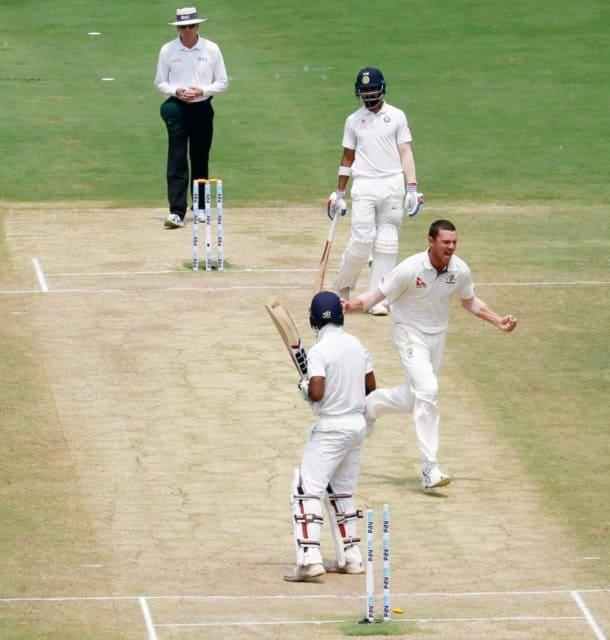 India vs Australia photos, ind vs Aus photo, india vs Australia 2017, India vs Australia second Test, Ravindra Jadeja, Jadeja, KL Rahul, Rahul, pujara, Cheteshwar pujara, Rahane, Kohli, Virat Kohli, Hazlewood, Cricket news, Cricket photos, Cricket