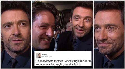 hugh jackman, hugh jackman video, hugh jackman rollo ross, when hugh jackman recognised student, hugh jackman on green carpet, hugh jackman recognised student he taught, hugh jackman PE student video, hugh jackman hilarious video, indian express, indian express news
