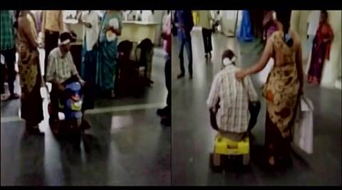 hyderabad, hyderabad hospital, patient kid tricycle, patient use child tricycle at hospital, viral video, trending video, latest news