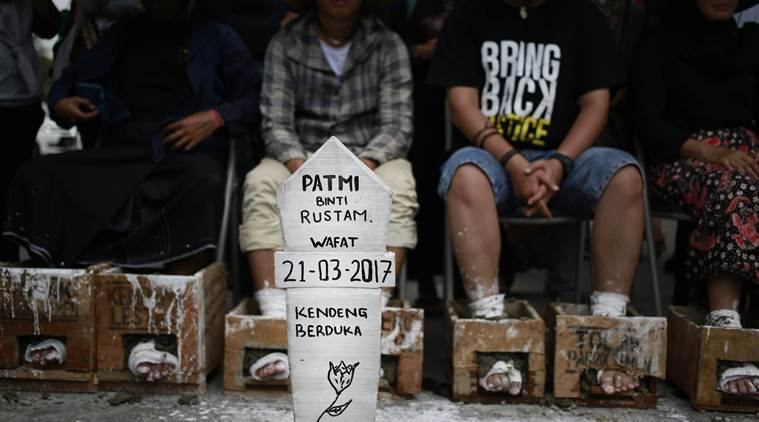Indonesia protests, indonesia cement protests, indonesia farmers protests, indonesia farmers, indonesia news, world news, latest news, indian express