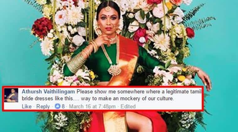 tamil bride, tamil bride slit sari magazine controversy, tamil bride slit sari jodi bridal magazine, tamil bride slit sari jodi bridal magazine controversy, tamil bride canadian magazine controversy, indian express, indian express news, trending, trending news