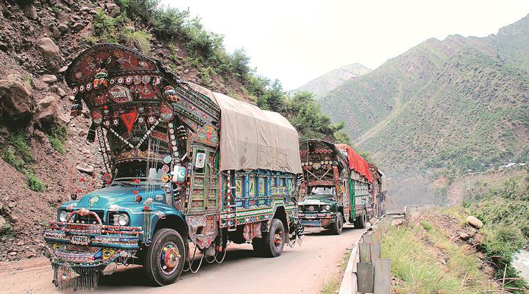 police seize truck, police seize truck in Kashmir, trucks with arms seized in Kashmir, LOC, URI, Terrorists arms seized, Kashmir police, indian express news