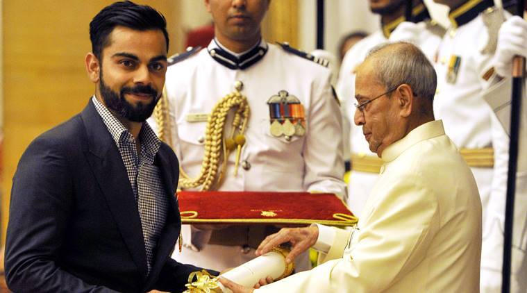 Virat Kohli, Padmashri, kohli, Kohli, padma shri, padma shri awards, padma shri winners, padma shri 2017, cricket news, cricket, sports news, indian express
