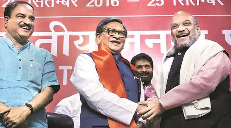 karnataka elections, SM Krishna, SM krishna joins BJP, SM Krishna BJP, sm krishna amit shah, amit shah karnataka, india news, indian express news