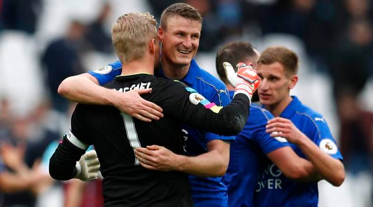 Leicester City, Leicester City vs West Ham, West Ham United, West Ham United vs Leicester City, Leicester City wins against West Ham, Jamie Vardy, Riyad Mahrez, Premier league match report, Leicester relegation zone, Kasper Schmeichel wonder saves, Andy Caroll, football news, indian express news