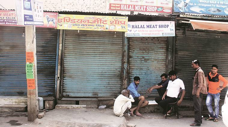 Shiv Sena, meat ban, meat shops closed, gurgaon meat ban, shiv sena meat ban, KFC closed, indian express news, india news, delhi news