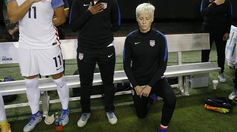 US soccer's board, Megan Rapinoe, Megan Rapinoe kneeled in support of Colin Kaepernick, 2017 policy repealed, national anthem rule