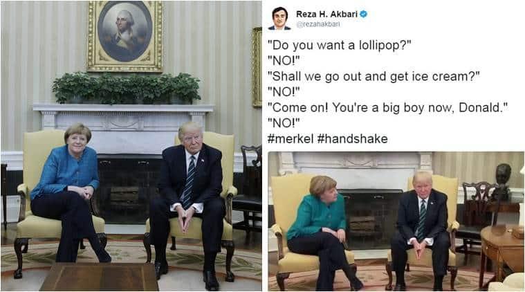 donald Trump, angela merkel, trump merkel, trump merkal handshake, merkel trump awkard handshake, trump handshake, trump ignore merkel handshake, trump abe handshake, world news, latest news