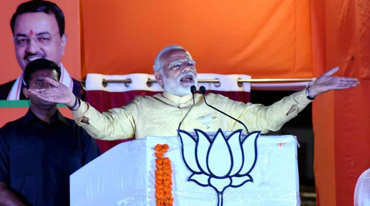 Varanasi:Prime Minister Narendra Modi addresses during an election campaign rally in support BJP candidates in Varanasi on Sunday. PTI Photo(PTI3_5_2017_000237A)