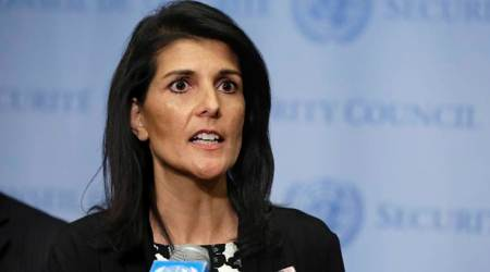 Nikki Haley, UN, United Nations, Nikki Haley targets Iran, Nikki Haley on mideast destabalization, Israeli-Palestinian conflict, world news, indian express news