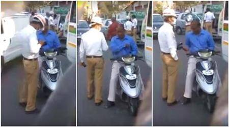 police officer, indian police, hyderabad cop bribe video, hyderabad policeman taking bribe, cop videos, police videos, hyderabad police video, indian express, indian express news