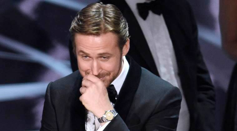 Ryan gosling, ryan gosling oscars goof up, ryan gosling laughter oscars goof up