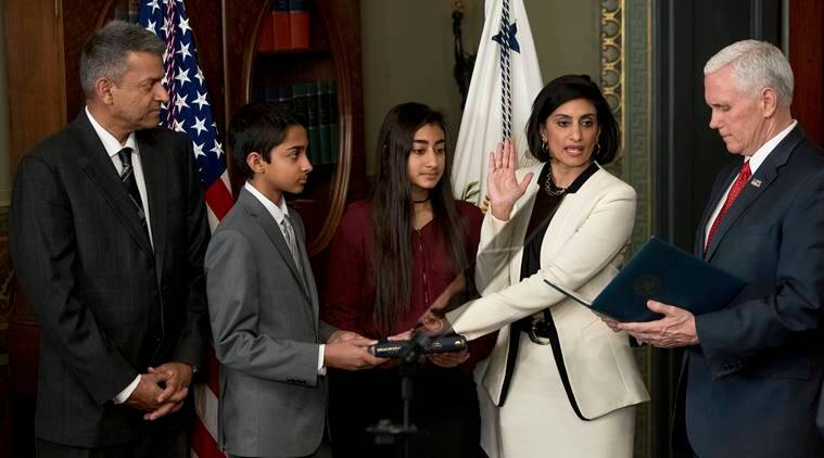 Seema verma, Seema Verma US, Seema verma health care ageny, United states, US, Seema verman sworn-in, Indian-american, Donald trump, trump administration, US health care agency, Obamacare, Nikki Haley, world news, indian express news