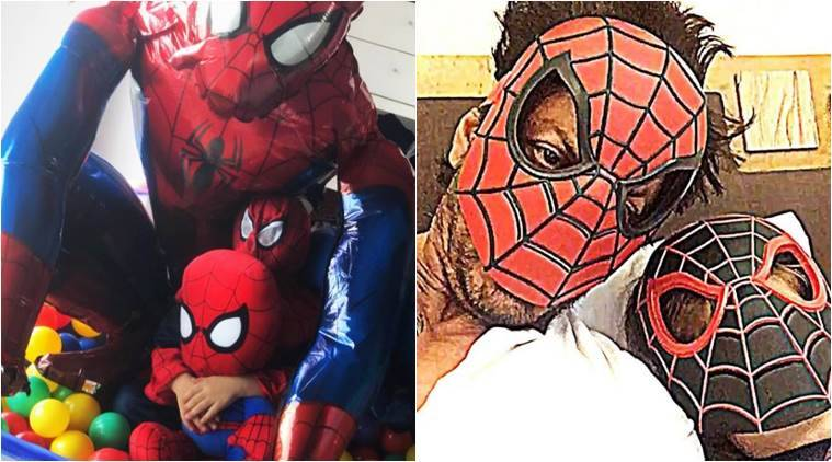 Image result for Shah Rukh Khan has a 'spidey boom' at home as AbRam becomes Spider-Man