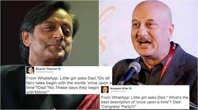 shashi tharoor, shashi tharoor twitter, shashi tharoor tweet modi, narendra modi, anupam kher, shashi tharoor anupam kher battle, indian express, indian express trending, trending in india