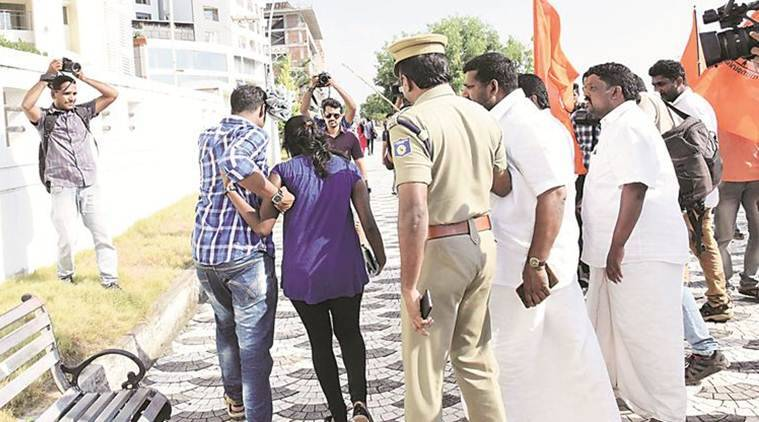 Kiss of Love, kiss of love protest, protest moral policing, moral policing, Shiv Sena, shiv sena moral policing, india news, indian express news