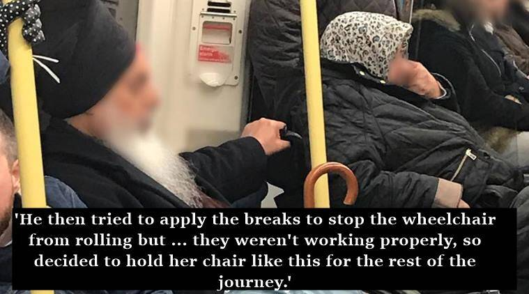 sikh man on train, sikh main gives muslim woman seat on train, sikh man on train gives muslim woman seat in US, sikh man kindness, sikh man helps muslim woman, indian express, indian express news, united states ethnic confilicts