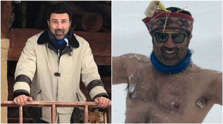 Sunny Deol is having a lot of fun on the sets of son Karan's debut film in Manali, see pics