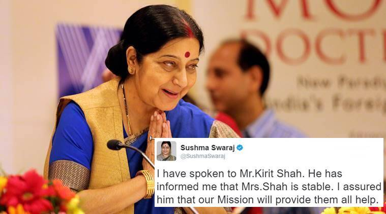 sushma swaraj, sushma swaraj twiiter, sushma swaraj rescue mission, sushma swaraj twitter help, sushma swaraj helps, sushma swaraj helps indian couple, sushma swaraj helps woman travelling to newark, indian express, indian express news