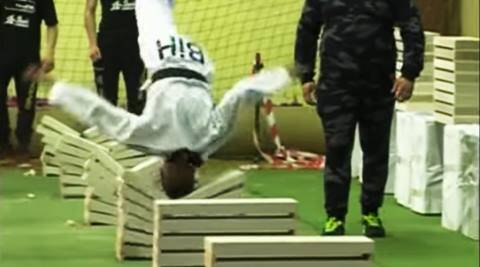 16-year-old breaks Guinness record, bosnia taekwondo champion 111 slabs, 111 slabs in 35 seconds bosnia champion, taekwondo champion breaks 111 slabs in 35 seconds, indian express, indian express news, trending news, trending videos, trending globally