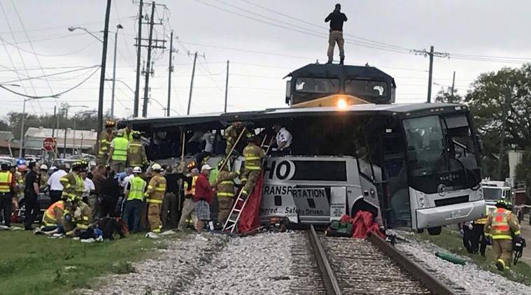 US train-bus accident, Mississippi train-bus accident, freight train accident, Mississippi freight train accident, Mississippi tour bus accident, Mississippi news, US news, latest news, indian express
