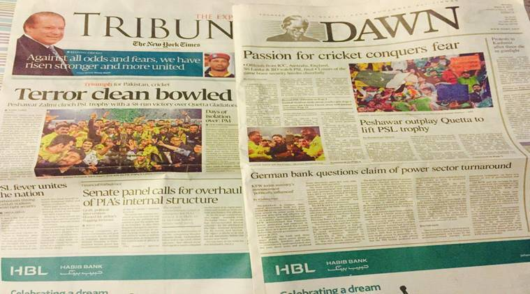 Pakistan media celebrated the return of cricket to the nation with the PSL Final. (Source: Twitter)