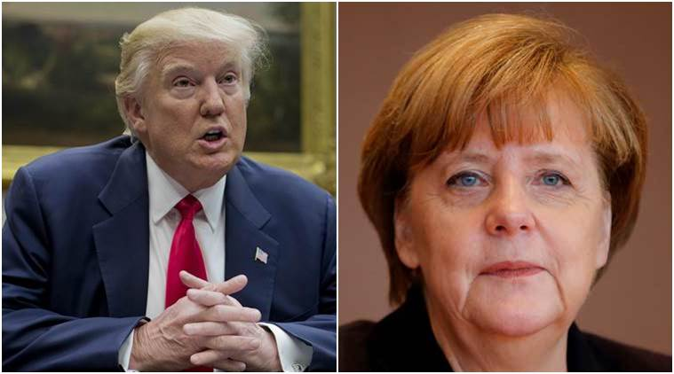 Angela Merkel, German Chancellor Angela Merkel, US President Donald Trump, Donald Trump, Europe US, US Europe relations, Merkel Trump, World news, Indian Express