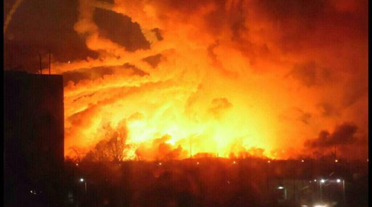 Ukraine's Kharkiv, Ukraine military arsenal fire, ukraine fire, military arsenal fire, world news, latest news, indian express news