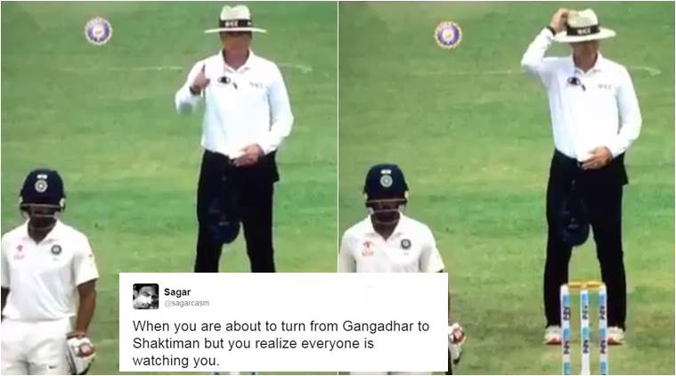 india vs australia, ind vs aus test 2017, india australia test series, pujara, gaffaney, umpire making mistake, umpire raising finger scratching his hat, pujara, hazlewood, indian express, indian express news