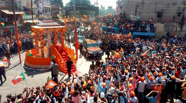 varanasi roadshow, varanasi campaign rally, pm modi, uma bharti, smriti irani, bjp election campaign varanasi, rajnath singh, up elections 2017, uttar pradesh elections 2017, up polls 2017, up 2017 elections, uttar pradesh 2017 elections, up polls, up elections, india news, indian express news