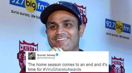 virender sehwag, ind vs aus, border gavaskar trophy, #ViruGhareluAwards, Viru Gharelu Awards, virender sehwag twitter, sehwag awards, virat kohli, steve smith, indian express, indian express news