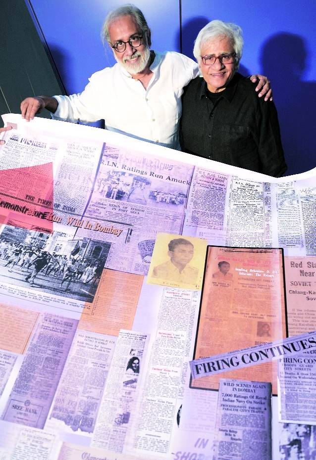 vivan sundaram, vivan sundaram art installation, chhatrapati shivaji hall mumbai, naval strike committee, art gallery aaya nagar delhi, royal indian navy, newspaper art installation, vivan sundaram art show