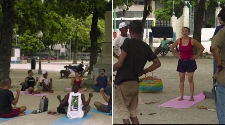 people giving free yoga classes to people, viral videos, yoga videos, yoga classes outside india, free yoga classes, teach yoga, indian express, indian express news