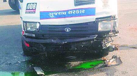 Surat: Ambulance with rescued kid hit by a car