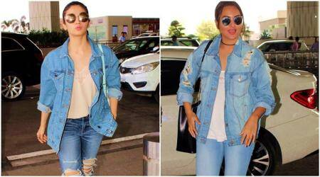 alia bhatt, sonakshi sinha, alia bhatt denim look, sonakshi sinha denim look, alia bhatt fashion, sonakshi sinha fashion, alia bhatt airport look, sonakshi sinha airport look, denim, fashion, lifestyle, fashion news, fashion, lifestyle, indian express, indian express news