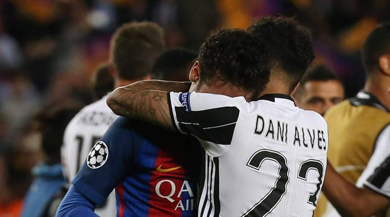 Dani Alves, Neymar, Barcelona, Brazil, Champions League, Champions League quarterfinals, UEFA Champions League, Barcelona vs Juventus, Barca vs Juventus, football news, sports news, Indian Express