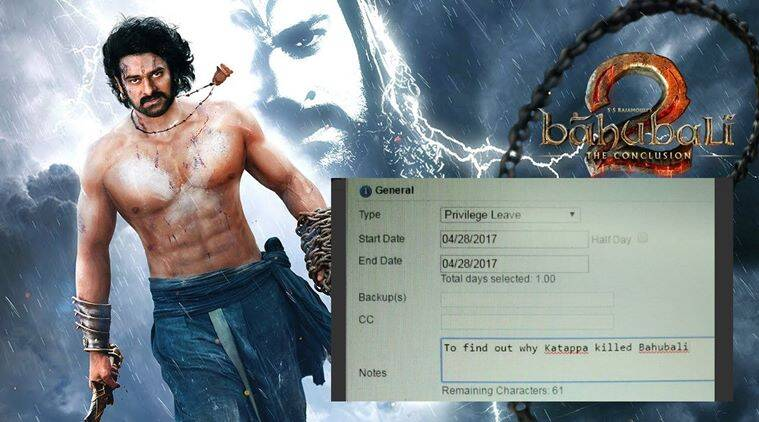 baahubali, baahubali 2, baahubali 2 leave, baahubali 2 leave forms, baahubali 2 the conclusion, baahubali 2 social media, baahubali 2 why did kattappa kill baahubali, why did kattappa kill baahubali, baahubali mystery, indian express, indian express news