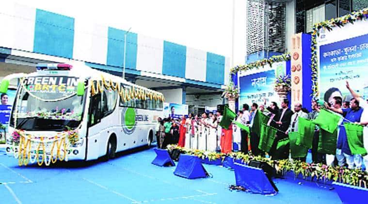 kolkata bangladesh bus service, bengal bangladesh bus service, bangladesh bus service, bangladesh bus service launched, indian express, india news