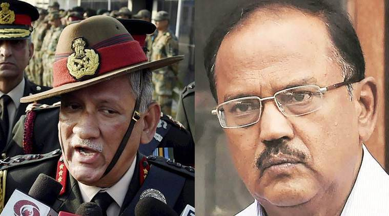 Kashmir, Jammu and kashmir, kashmir situation, NSA, NSA ajit Doval, Ajit Doval, Bipin Rawat, Army chief Bipin Rawat, Ajit Doval Bipin Rawat, Doval-rawat, NSA ARmy chief meeting, NSa on kashmir situation, J&K CM, mehbooba Mufti, NN Vohra, india news, indian express news