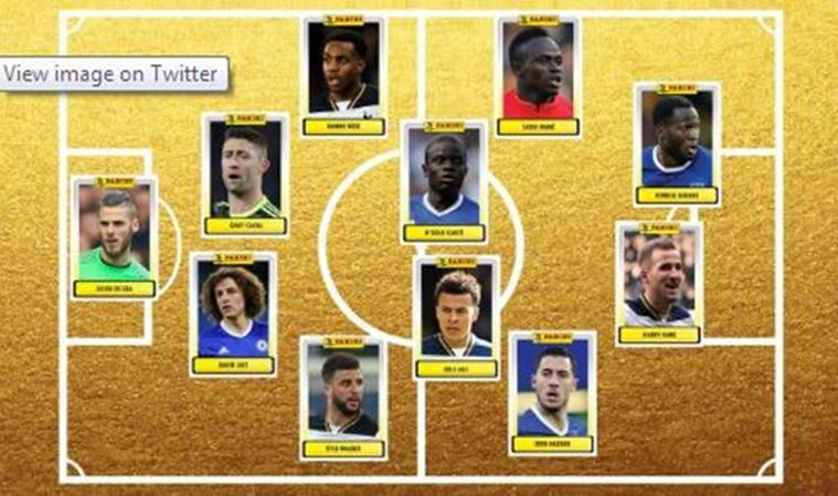 PFA, team of the year, Premier league, EPL, Professional Footballers' Association, Professional Footballers' Association Premier League team of the year, Chelsea, Tottenham Hotspur, Tottenham, Spurs, N'Golo Kante, Gary Cahill, David Luiz, Eden Hazard, Dele Alli, Danny Rose and Harry Kane, Kyle Walker, Zlatan Ibrahimovic, Alexis Sanchez, Manchester United, Everton, Romelu Lukaku, David de Gea, Liverpool, Sadio Mane, football news, sports news, Indian Express