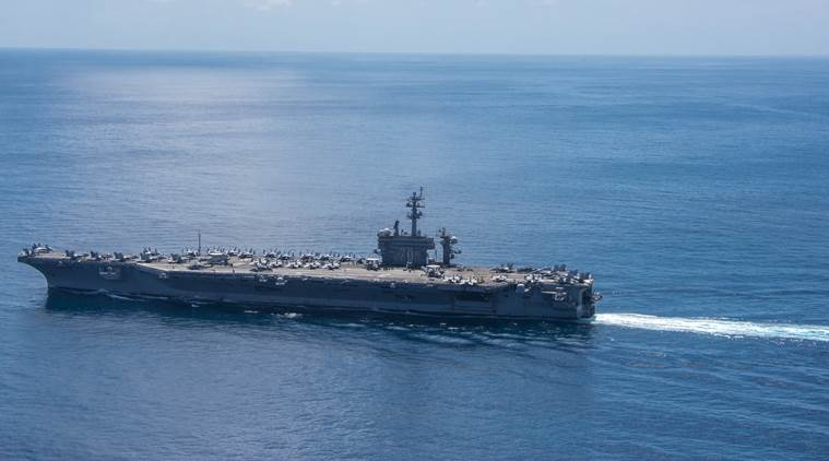 Where's U.S. aircraft carrier going?