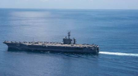 Carl Vinson, US navy, US navy supercarrier, US navy strength, US-North Korea tension, North Korea threat, Mike Pence on North Korea, Mike Pence in Australia, Pence-Turnbull, world news, indian express news
