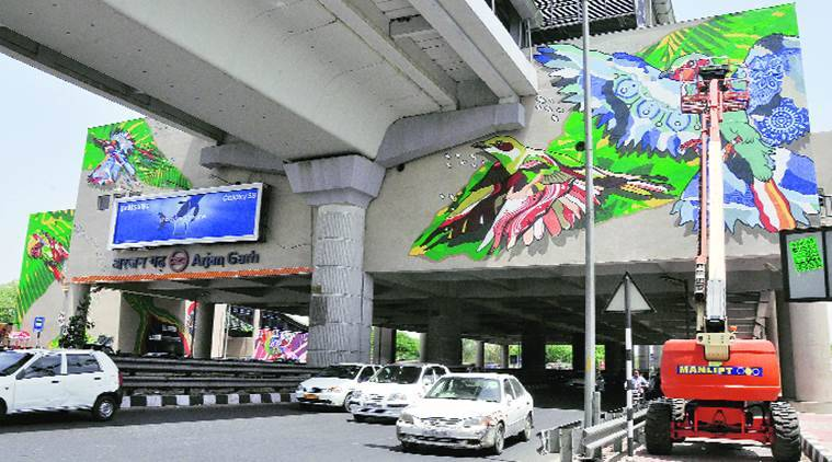 Singapore Artist, Art News, Cultural news Metro art, Delhi Metro Rail Corporation and NGO, Arjan Garh Metro station, Delhi and Gurgaon News, Indian express news, india news