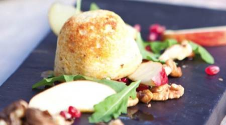 Ready in 30 mins: Cheese soufflés with apple, walnut and pomegranate salad recipe