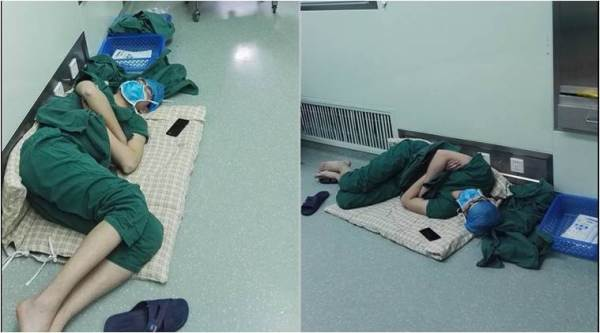 doctors, doctor long hours shift, doctors shifts, doctor asleep on hospital floor, chinese doc asleep on hospital floor, doctor asleep on floor viral pic, viral photo, trending news, latest news, china news, indian express
