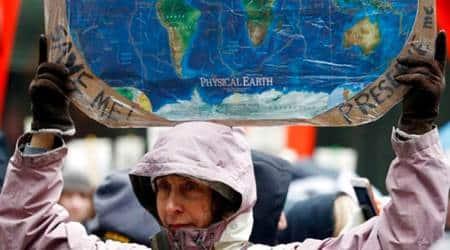 Donald Trump, US President Donald Trump, US Climate Policies Protest, Climate Policies Protest US, US Climate Policies, United States Climate Policies, World News, Latest World News, Indian Express, Indian Express News
